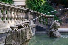 青蛙雕象与飞溅水的 库存图片