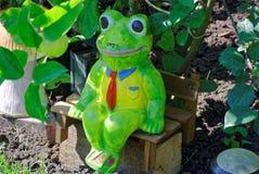 青蛙-在一条领带的商人对自然 免版税库存图片