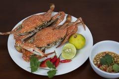 青蟹特写镜头用泰国在板材的海鲜调味汁,o 图库摄影