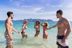 青年人小组海滩暑假,水海边的朋友 库存照片