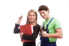青年人用工作的设备 免版税库存图片