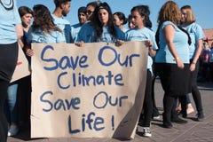 青年气候活动家抗议 库存照片