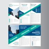 青绿的三角三部合成的传单小册子飞行物模板设计,书套布局设计 皇族释放例证