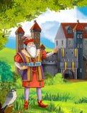 青-老人-王子或城堡公主- -骑士和神仙-孩子的例证 免版税库存图片