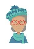 青绿色帽子和围巾的微笑的老妇人 向量例证