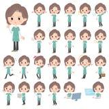青绿色长袍中部妇女 向量例证