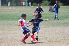 青年足球为球的足球运动员战斗 库存照片