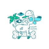 青年T恤杉印刷品设计 在帽子的凉快的狗在滑板骨头在海滩乘坐 棕榈树、飞碟和海 传染媒介乱画illustrat 库存例证
