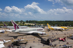 静态航空器显示在新加坡Airshow 2016年 库存图片