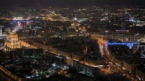 静态鸟瞰图-在夜城市街道的快行汽车通行 影视素材