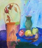 静物画与篮子,花瓶,果子的构成例证和 库存图片