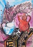 静物画与茶壶的构成例证,花,水罐, 免版税图库摄影