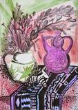 静物画与茶壶的构成例证,花,水罐, 免版税库存照片