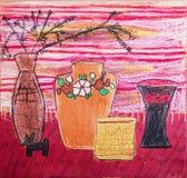 静物画与茶壶的构成例证,花,水罐 库存照片