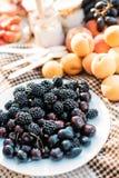 静物画夏天野餐黑莓杏子莓 图库摄影