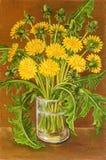静物画夏天领域野花 油原始绘画 向量例证