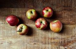 静物画用在土气木桌上的红色秋季苹果;从上面看见 免版税库存照片