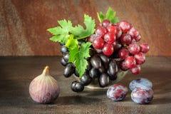 静物画用果子:葡萄,无花果,在古色古香的铜罐子杯子的李子 免版税库存图片