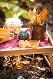 静物画用茶、咖啡豆、黄色和褐色离开,秋天心情,选择聚焦 库存照片