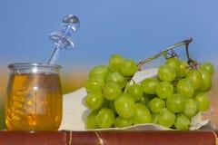 静物画用葡萄和蜂蜜 库存图片