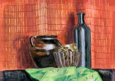 静物画陶瓷罐花瓶和瓶 库存照片