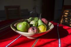 静物画-碗果子和阳光 免版税库存图片