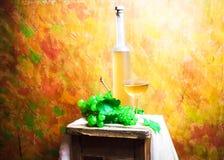 静物画果子bottlle葡萄酒 库存图片