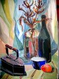 静物画绘瓶,玻璃的树胶水彩画颜料颜色 库存图片