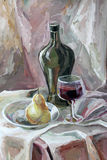 静物画绘瓶,玻璃的树胶水彩画颜料颜色 免版税图库摄影