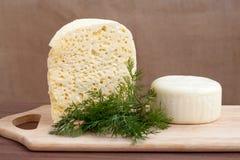 静物画用乳酪和绿色 免版税库存照片