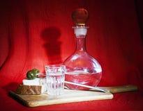 静物画用伏特加酒和开胃小菜 图库摄影