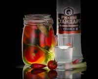 静物画用俄国伏特加酒用用卤汁泡的蕃茄 图库摄影