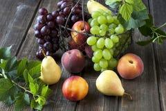 静物画用在柳条筐的新鲜水果在木桌上 免版税库存照片