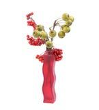 静物画用新鲜的自然红色花楸浆果和小绿色梨在一个色的花瓶 免版税库存照片