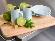 静物画用新鲜薄荷茶和石灰 免版税库存图片