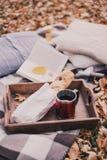 静物画用茶、法国大面包、被编织的枕头和书 免版税库存照片