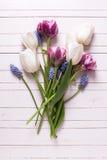 静物画舱内甲板被放置的花卉照片 库存图片