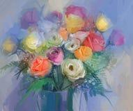静物画花花束 油画红色和黄色玫瑰在花瓶开花 免版税图库摄影