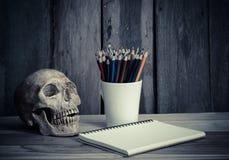 静物画头骨、写生簿和颜色在木背景书写 库存照片