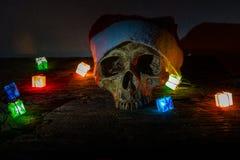 静物画头骨穿戴有礼物火焰信号器的圣诞老人帽子 免版税库存图片