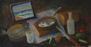 静物画绘画,玻璃,面包,蕃茄,黄瓜,刀子,鱼,瓶 免版税库存图片