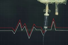 静脉注射器在医院 库存照片