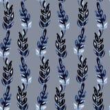 靛蓝叶子的例证水彩无缝的样式以垂直条纹波浪的形式在灰色背景 向量例证