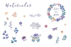 靛蓝水彩开花花束,准备好婚姻的,庆祝,党框架花卉集合绘画叶子设计花 向量例证