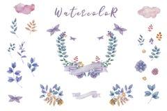 靛蓝水彩开花花束,准备好婚姻的,庆祝,党框架花卉集合绘画叶子设计花 皇族释放例证