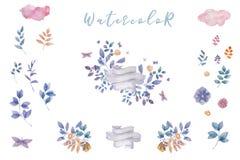 靛蓝水彩开花花束,准备好婚姻的,庆祝,党框架花卉集合绘画叶子设计花 库存例证
