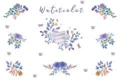 靛蓝水彩开花花束,准备好婚姻的,庆祝,党框架花卉集合绘画叶子设计花 免版税库存照片