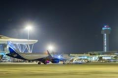 靛蓝航空公司A320股票图象 库存照片