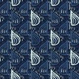 靛蓝色下落仿造日本风格无缝的传染媒介 手拉的落的雨珠 库存例证