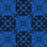 靛蓝色图表缝制了方形的无缝的样式 葡萄酒被子tyle导航例证 向量例证
